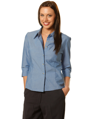 Picture of Winning Spirit - BS04 - Ladie's Wrinkle Free 3/4 Sleeve Chambray Shirts
