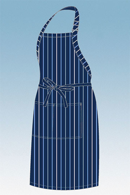 Picture of Chef Works - A500-NFW - NavyFrench BlueWhite Striped Bib Apron