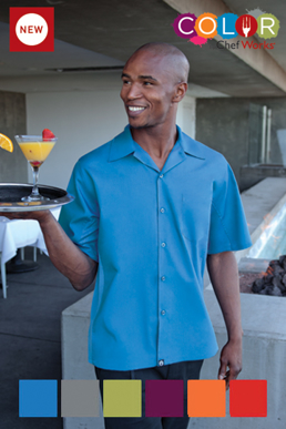 Picture of Chef Works - CSMV-LIM - Men's Lime Universal Contrast Cook Shirt