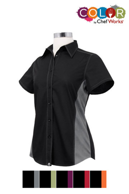 Picture of Chef Works - CSWC-BRM - Female BlackRed Universal Contrast Shirt