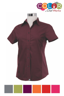 Picture of Chef Works - CSWV-BLK - Female Black Universal Contrast Shirt