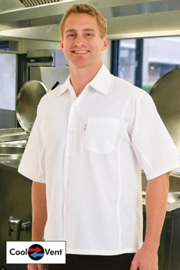 Picture of Chef Works - CSCV-WHT - Men's White Cool Vent™  Cook Shirt
