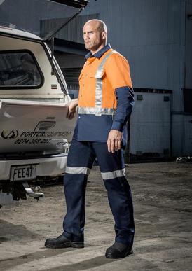 Picture of Syzmik - ZW124 - Mens Hi Vis Spliced Industrial Shirt - Shoulder Taped