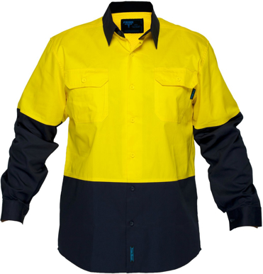 Picture of Prime Mover-MS801-Hi Vis Cotton Drill Shirt