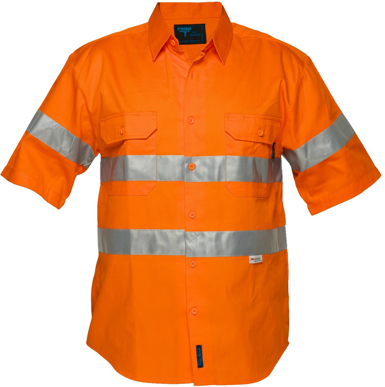 Picture of Prime Mover-MA192-Hi-Vis Regular Weight Short Sleeve Shirt with Tape