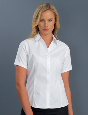 Picture of John Kevin Uniforms-102 White-Womens Short Sleeve Poplin