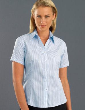 Picture of John Kevin Uniforms-113 Blue-Womens Short Sleeve Three Way Stripe