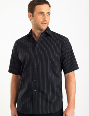 Picture of John Kevin Uniforms-207 Black-Mens Short Sleeve Fine Stripe