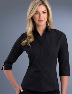 Picture of John Kevin Uniforms-700 Black-Womens Slim Fit 3/4 Sleeve Poplin