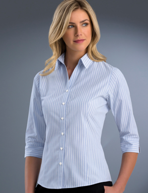 Picture of John Kevin Uniforms-718 Blue-Womens Slim Fit 3/4 Sleeve Pinfeather
