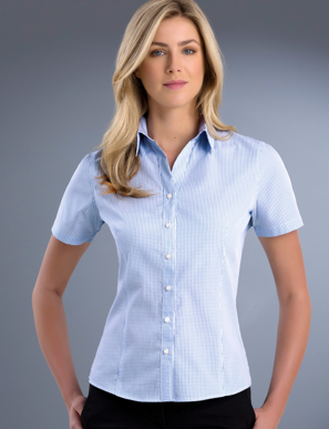 Picture of John Kevin Uniforms-725 Blue-Womens Slim Fit Short Sleeve Mini Check