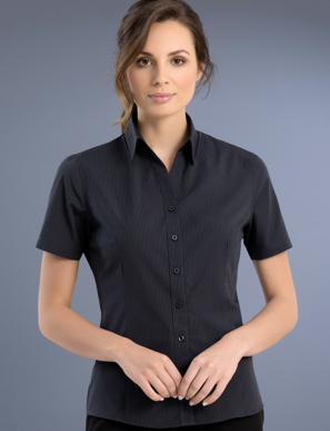 Picture of John Kevin Uniforms-737 Charcoal-Womens Slim Fit Short Sleeve Dark Stripe