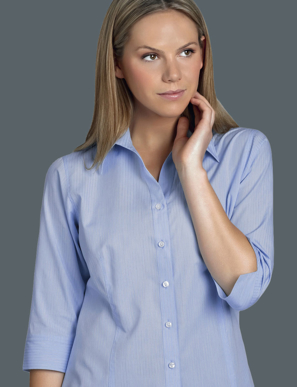 Picture of John Kevin Uniforms-336 Blue-Womens 3/4 Sleeve Soft Stripe