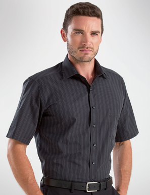 Picture of John Kevin Uniforms-453 Black-Mens Short Sleeve Dark Stripe