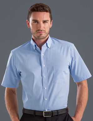 Picture of John Kevin Uniforms-455 Blue-Mens Short Sleeve Multi Check