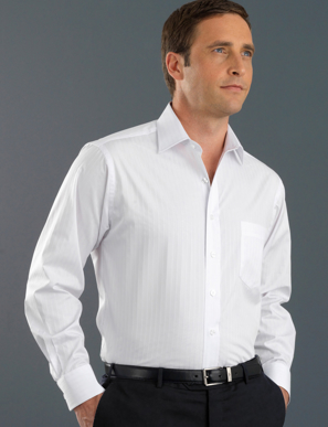 Picture of John Kevin Uniforms-460 White-Mens Long Sleeve Self-Stripe
