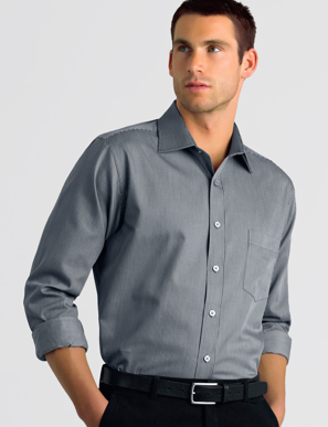 Picture of John Kevin Uniforms-462 Gunmetal-Mens Long Sleeve Pinstripe