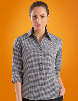 Picture of John Kevin Uniforms-530 Black-Womens Stretch Slim Fit 3/4 Sleeve Dobby Check