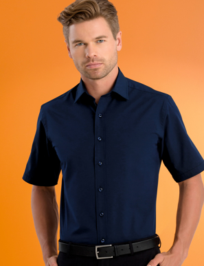 Picture of John Kevin Uniforms-601 Deep Blue-Mens Stretch Slim Fit S/S Poplin