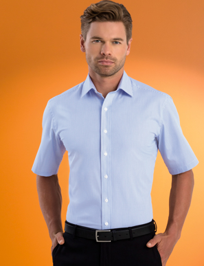 Picture of John Kevin Uniforms-621 Sky-Mens Stretch Slim Fit S/S Bengal Stripe