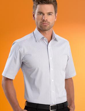 Picture of John Kevin Uniforms-641 Stone-Mens Stretch Slim Fit S/S Contemp Stripe