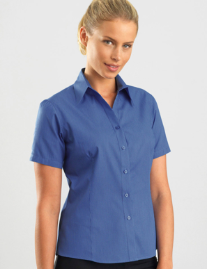 Picture of John Kevin Uniforms-365 Sapphire-Womens Short Sleeve Tonal Stripe