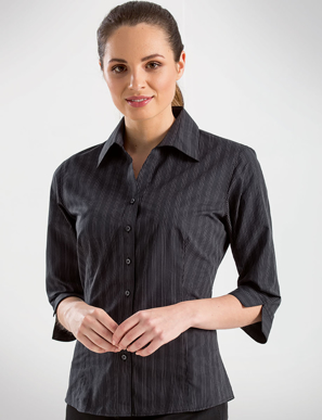 Picture of John Kevin Uniforms-352 Black-Womens 3/4 Sleeve Dark Stripe