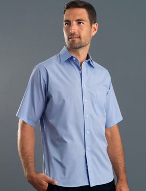 Picture of John Kevin Uniforms-437 Blue-Mens Short Sleeve Soft Stripe