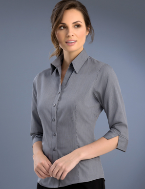 Picture of John Kevin Uniforms-762 Gunmetal-Womens Slim Fit 3/4 Sleeve Pinstripe