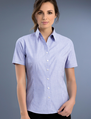 Picture of John Kevin Uniforms-771 Blue-Womens Slim Fit Short Sleeve Dobby Stripe