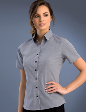 Picture of John Kevin Uniforms-773 Black-Womens Slim Fit Short Sleeve Small Check