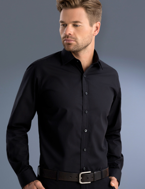 Picture of John Kevin Uniforms-800 Black-Mens Slim Fit Long Sleeve Poplin