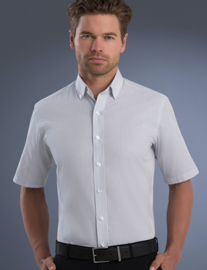 Picture of John Kevin Uniforms-825 Grey-Mens Slim Fit Short Sleeve Mini Check