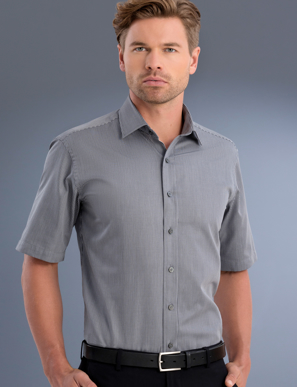 Picture of John Kevin Uniforms-863 Gunmetal-Mens Slim Fit Short Sleeve Pinstripe