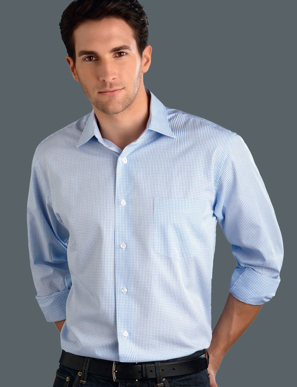 Picture of John Kevin Uniforms-424 Blue-Mens Long Sleeve Mini Check