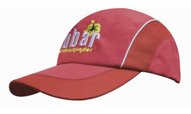 Picture of Headwear Stockist-3802-Spring Woven Fabric with Mesh to Side Panels and Peak