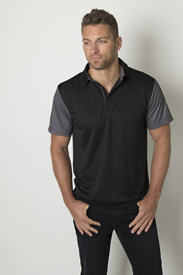 Picture of Be seen-BKP600-Mens polo with contrast sublimated striped sleeves