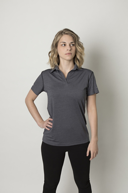 Picture of Be seen-BKP700L-Ladies Charcoal Heather soft touch fabric polo