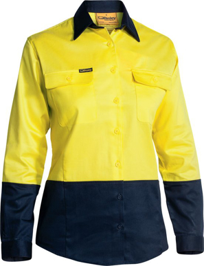 Picture of Bisley Workwear-BL6267-Womens Hi Vis Drill Shirt Long Sleeve