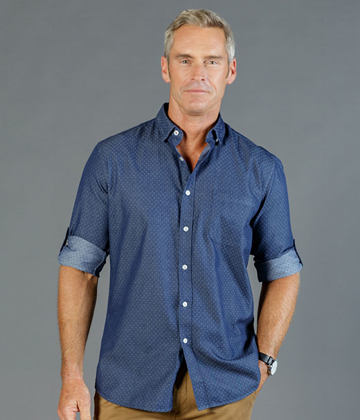 Picture of Gloweave-1714HL-MEN'S DENIM DOBBY SHIRT - WELLINGTON