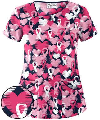Picture of UA658LRN Print Top - Love & Ribbons