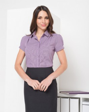 Picture of LSJ Collections-203-LO-Short sleeve pleat front shirt with button placket trim