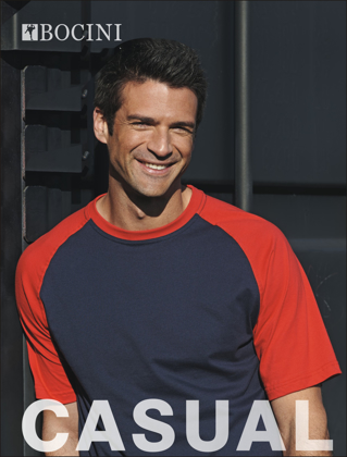 Picture of Bocini-CT0332-Unisex Adults Raglan Sleeve Tee Shirt