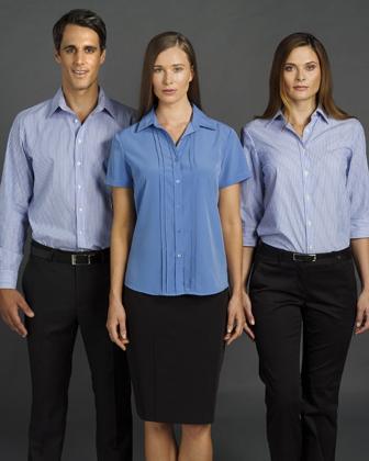 Picture of Identitee-W43(Identitee)-Ladies 3\4 Sleeve Corporate Stripe Shirt
