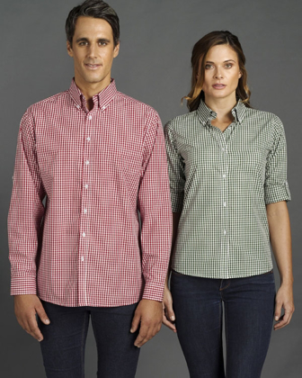 Picture of Identitee-W44(Identitee)-Mens Long Sleeve Gingham Check