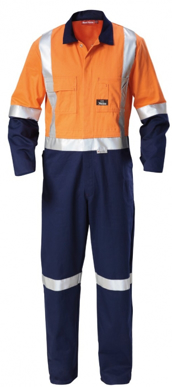Picture of Hardyakka-Y00262-HI VIS 2 TONE COTTON DRILL COVERALL-3M TAPE