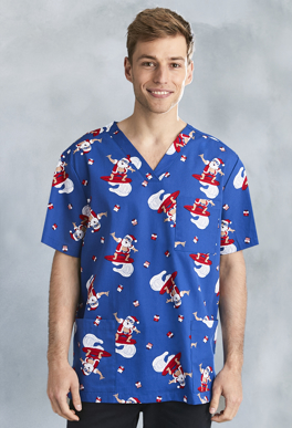 Picture of Biz Care - CST146MS(Elec) - Men's Christmas S/S V-Neck Scrub Top